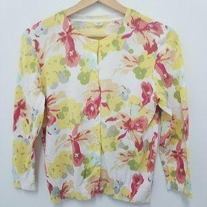 JCrew Floral Cardigan Floral Sweater Size M